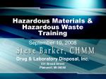 Hazardous Materials & Hazardous Waste Training