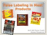 False Labeling in Meat Products
