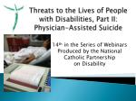 Threats to the Lives of People with Disabilities, Part II: Physician-Assisted Suicide