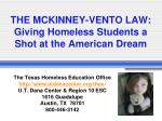THE MCKINNEY-VENTO LAW: Giving Homeless Students a Shot at the American Dream
