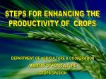 DEPARTMENT OF AGRICULTURE & COOPERATION MINISTRY OF AGRICULTURE CROPS DIVISION