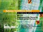 EP127 Implementing Security in Enterprise Portals