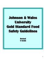 Johnson & Wales University Gold Standard Food Safety Guidelines Revised  7-10-08
