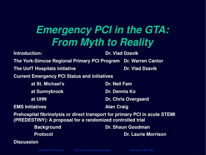 emergency pci in the gta from myth to reality n.