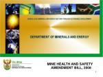MINE HEALTH AND SAFETY AMENDMENT BILL, 2008