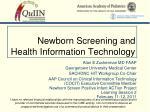 Newborn Screening and Health Information Technology