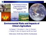Environmental Risks and Impacts of China's Agriculture