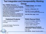 Tool Integration and Interoperability Working Group