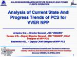 Analysis of Current State And Progress Trends of PCS for VVER NPP