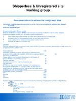 Shipperless & Unregistered site working group