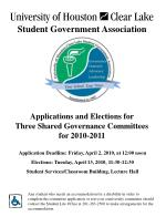 Applications and Elections for  Three Shared Governance Committees  for 2010-2011