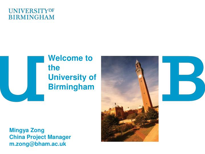 welcome to the university of birmingham n.