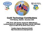 CoAX Technology Contributions TTCP Meeting - Malvern - November 2000