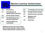 Machine Learning: Symbol-based