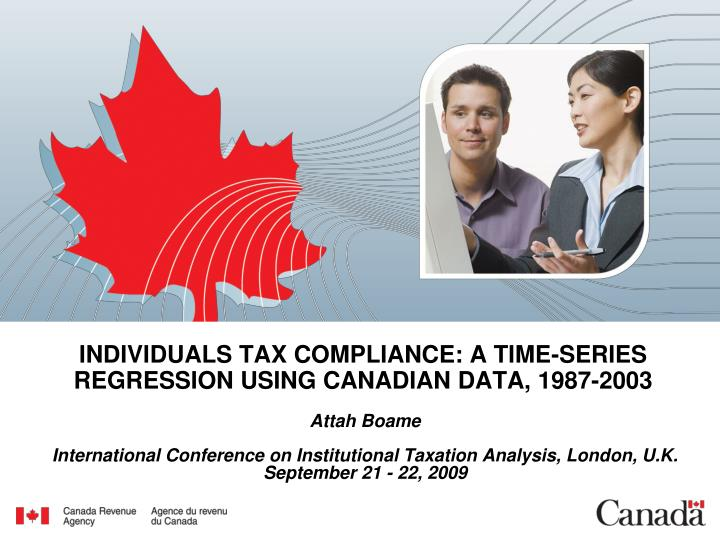 individuals tax compliance a time series regression using canadian data 1987 2003 n.