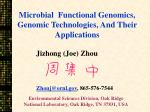 Microbial Functional Genomics, Genomic Technologies, And Their Applications