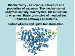 ENZYMES: CLASSIFICATION, STRUCTURE