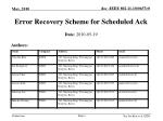 Error Recovery Scheme for Scheduled Ack
