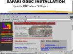 SAFARI ODBC INSTALLATION