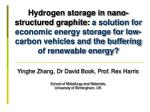 Yinghe Zhang, Dr David Book, Prof.  Rex Harris School of Metallurgy and Materials,