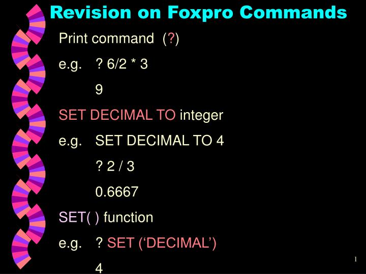 PPT - Revision on Foxpro Commands PowerPoint Presentation - ID:3400057