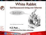 White Rabbit Sub-Nanosecond timing over Ethernet