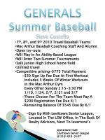 GENERALS Summer Baseball Steve Costello