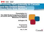 Business R&D Intensity in Canada and the United States: Does Firm Size Matter?