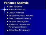 Variance Analysis