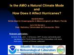 Is the AMO a Natural Climate Mode and  How Does it Affect Hurricanes?