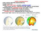 EARTH  DIFFERENTIATES - EARLY EARTH UNIFORM (HOMOGENEOUS) - PLANET HEATS UP