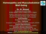 Homeopathy and Musculoskeletal Well-being