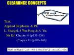 CLEARANCE CONCEPTS
