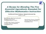 A Recipe for Blending The Five Essential Ingredients Kneaded For Effective Mathematics Instruction