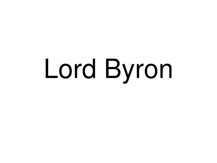 lord byron n.