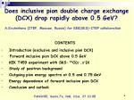 CONTENTS     Introduction (exclusive and inclusive pion DCX)