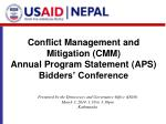 Conflict Management and Mitigation (CMM) Annual Program Statement (APS)  Bidders' Conference