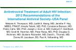 Antiretroviral Treatment of Adult HIV Infection: 2012 Recommendations of the