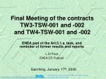 Final Meeting of the contracts TW3-TSW-001 and -002  and TW4-TSW-001 and -002