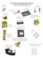 2011-2012 Aoy Elementary School 4 th  Grade School Supply List