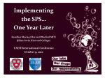 Implementing the SPS… One Year Later Karolina Maciag (Harvard Medical MIT)