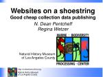 Websites on a shoestring Good cheap collection data publishing N. Dean Pentcheff Regina Wetzer