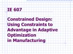 Constraints Arise In: