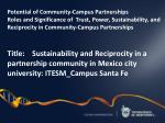 Potential of Community-Campus Partnerships