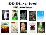 2010-2011 High School KBA Nominees