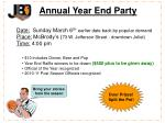 Annual Year End Party