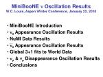 MiniBooNE n Oscillation Results W.C. Louis, Aspen Winter Conference, January 22, 2010
