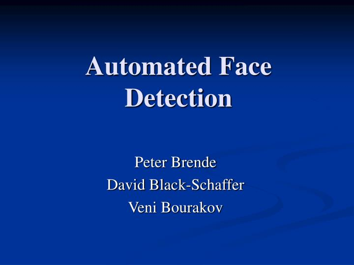 automated face detection n.