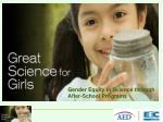 Gender Equity in Science through  After-School Programs