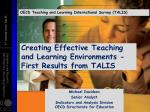 Creating Effective Teaching and Learning Environments - First Results from TALIS